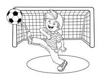 Esquema de la página que colorea de un muchacho que golpea un balón de fútbol con el pie Imagenes de archivo