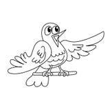 Esquema de la página que colorea del pájaro divertido del canto Imagen de archivo