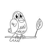 Esquema de la página que colorea del pájaro que se sienta divertido Imagen de archivo