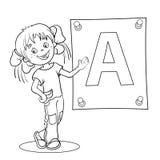 Esquema de la página que colorea de una muchacha de la historieta con la letra grande Foto de archivo