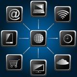 esquema de la tecnología de ordenadores con los iconos Imagen de archivo