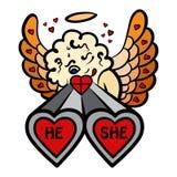 Esquema de los amantes del tiroteo de la tarjeta del día de San Valentín Imagen de archivo libre de regalías