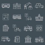 Esquema de los iconos de la infraestructura de la ciudad Foto de archivo libre de regalías