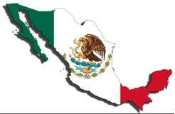 Esquema de México con la bandera nacional imagen de archivo libre de regalías