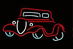 Esquema de neón de un coche antiguo Imagenes de archivo