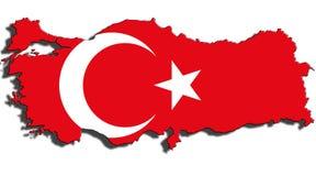 Esquema de Turquía con la bandera nacional foto de archivo