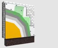 Esquema del aislamiento 3d de la pared del poliestireno Fotos de archivo libres de regalías
