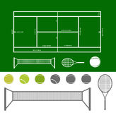 Esquema del campo de tenis Fotos de archivo libres de regalías