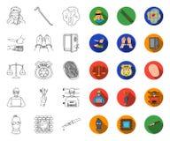 Esquema del crimen y del castigo, iconos planos en la colección determinada para el diseño Ejemplo criminal del web de la acci?n  ilustración del vector