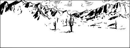 Esquema del desierto de Sonaran con el cielo en parte nublado ilustración del vector