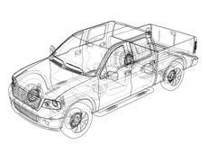 Esquema del dibujo de SUV del coche Representación del vector Ilustración del Vector