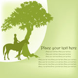 Esquema del equestrian en un caballo y un árbol Imagen de archivo libre de regalías