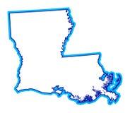 Esquema del estado de Luisiana Imágenes de archivo libres de regalías