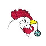 Esquema del gallo con el juguete del árbol de navidad Año Nuevo 2017 doodle Foto de archivo