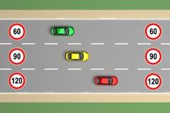 Esquema del límite de velocidad para la representación del coche 3d libre illustration