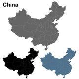 Esquema del mapa de China en gris, azul y negro Fotos de archivo