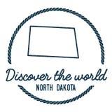 Esquema del mapa de Dakota del Norte El vintage descubre Fotografía de archivo
