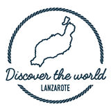 Esquema del mapa de Lanzarote El vintage descubre el mundo Imagenes de archivo