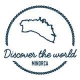 Esquema del mapa de Minorca El vintage descubre el mundo Imagenes de archivo