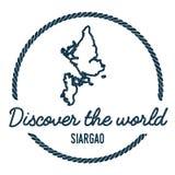 Esquema del mapa de Siargao El vintage descubre el mundo Imagen de archivo