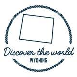 Esquema del mapa de Wyoming El vintage descubre el mundo Imagen de archivo libre de regalías