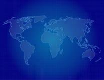 Esquema del mapa del mundo en azul Fotos de archivo