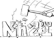 Esquema del martillo de trineo que destruye al nazi de la palabra stock de ilustración
