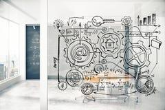 Esquema del negocio en la pared transparente en la conferencia ligera moderna r Fotografía de archivo libre de regalías