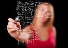 Esquema e ícones do negócio do desenho da mulher no whiteboard Imagens de Stock