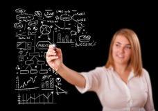Esquema e ícones do negócio do desenho da mulher no whiteboard Fotos de Stock
