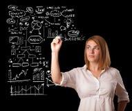 Esquema e ícones do negócio do desenho da mulher no whiteboard Imagem de Stock