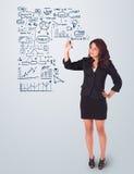 Esquema e iconos del asunto del gráfico de la mujer en whiteboard Imagen de archivo