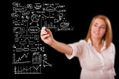 Esquema e iconos del asunto del gráfico de la mujer en whiteboard Imagenes de archivo