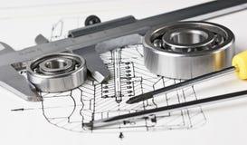 Esquema e rolamento mecânicos Fotografia de Stock