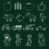Esquema fijado iconos de la granja Fotografía de archivo libre de regalías