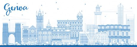 Esquema Genoa Italy City Skyline con los edificios azules ilustración del vector