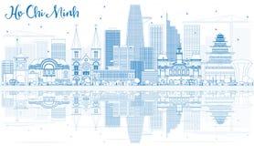 Esquema Ho Chi Minh Skyline con los edificios azules y las reflexiones stock de ilustración