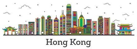Esquema Hong Kong China City Skyline con los edificios Isolat del color stock de ilustración