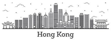 Esquema Hong Kong China City Skyline con los edificios modernos Isola stock de ilustración