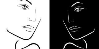 Esquema lacónico femenino blanco y negro de las cabezas Fotos de archivo libres de regalías