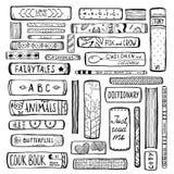 Esquema manchado de tinta monocromático de la colección de libros ilustración del vector