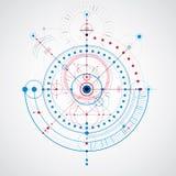 Esquema mecánico, dibujo de ingeniería azul del vector con los círculos ilustración del vector