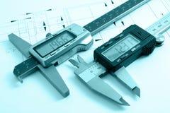 Esquema mecánico y calibradores Imagen de archivo