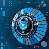 Esquema mecânico circular abstrato dimensional, technologica 3d ilustração stock