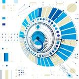 Esquema mecânico circular abstrato dimensional, teste padrão 3d tecnologico ilustração stock