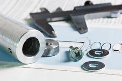Esquema mecânico e compassos de calibre fotos de stock