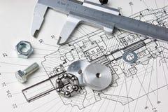 Esquema mecânico e compassos de calibre Fotos de Stock Royalty Free