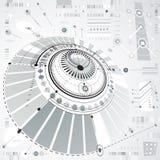 Esquema mec?nico circular abstrato dimensional, teste padr?o 3d tecnologico ilustração stock