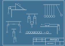Esquema na dinâmica da física ilustração do vetor