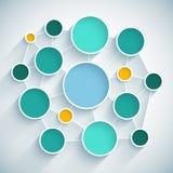 Esquema plano del diseño de la red de Infographics con el azul Imagen de archivo libre de regalías